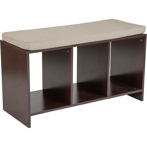 Prospect Hill Espresso Wood Finish Storage Bench With Cushion - Benches