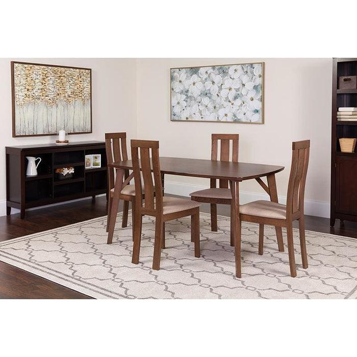 Pullman 5 Piece Walnut Wood Dining Table Set With Vertical Wide Slat Back Wood Dining Chairs - Padded Seats - Dinette Sets