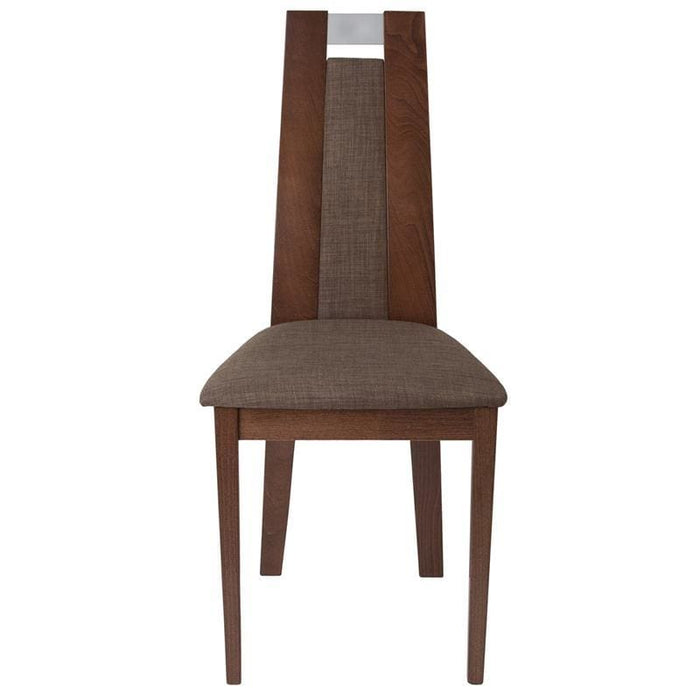 Quincy Walnut Finish Wood Dining Chair With Curved Slat Wood And Golden Honey Brown Fabric Seat - Dining Chairs