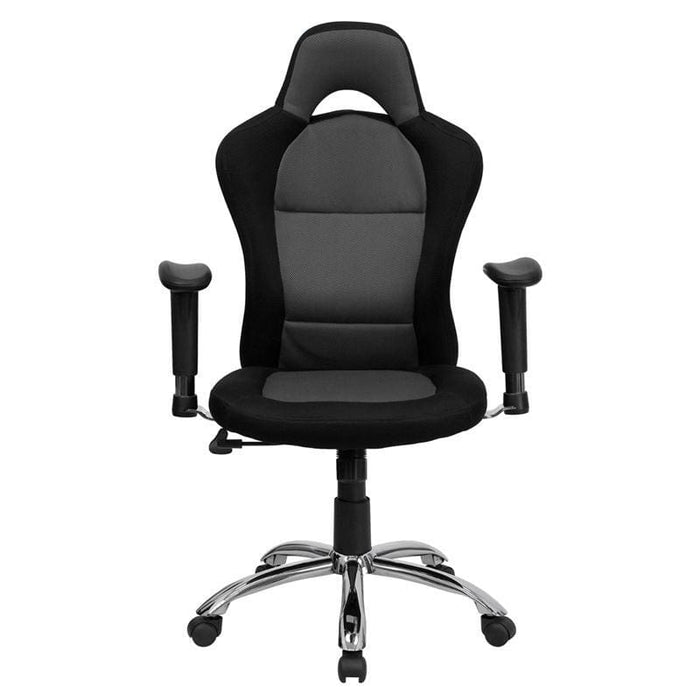 Race Car Inspired Gray And Black Mesh Swivel Task Chair With Bucket Seat And Adjustable Arms - Office Chairs