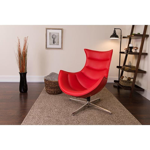 Red Leather Swivel Cocoon Chair - Reception Furniture - Chairs