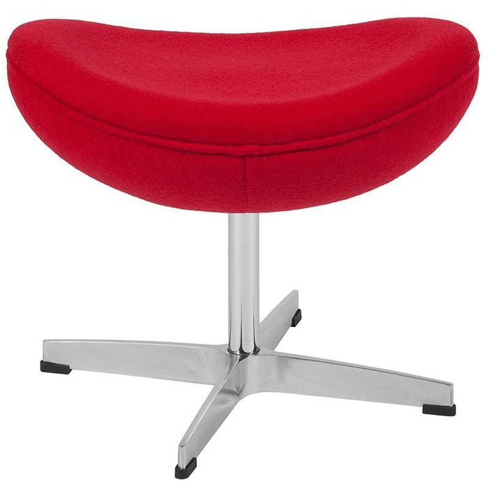 Red Wool Fabric Ottoman - Reception Furniture - Ottoman
