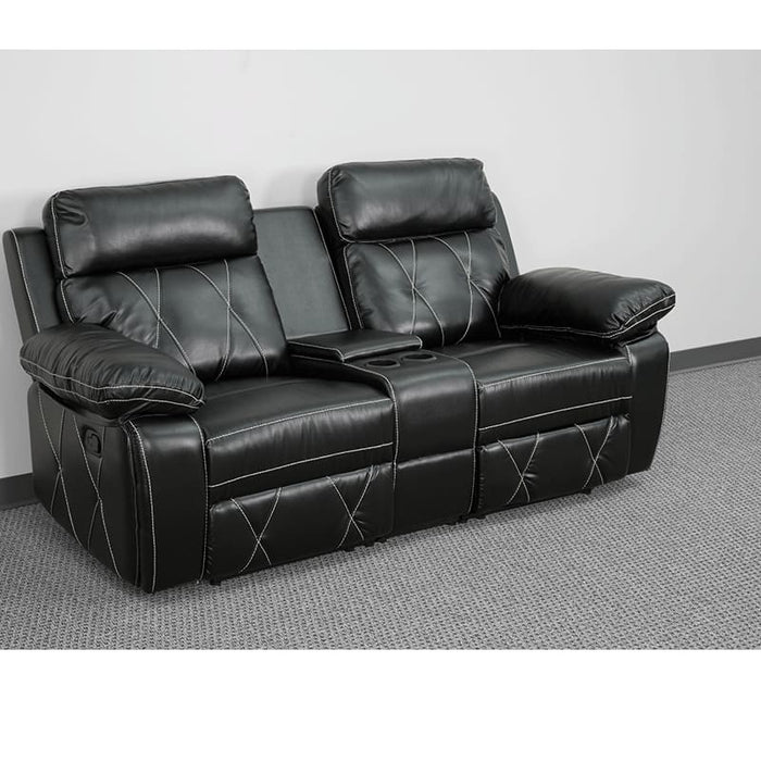 Reel Comfort Series 2-Seat Reclining Black Leather Theater Seating Unit With Straight Cup Holders - Theater Seating