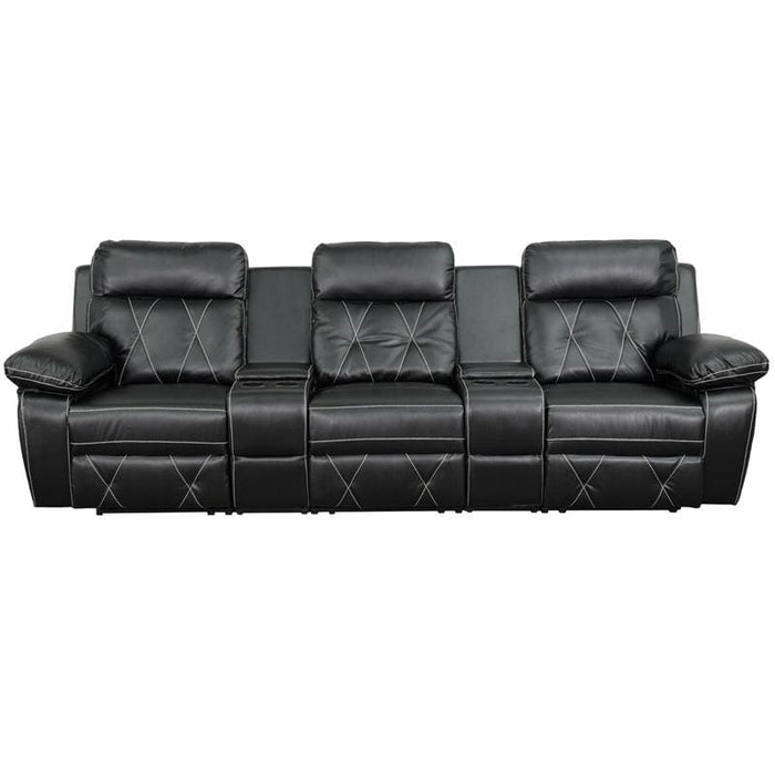 Reel Comfort Series 3-Seat Reclining Black Leather Theater Seating Unit With Straight Cup Holders - Theater Seating