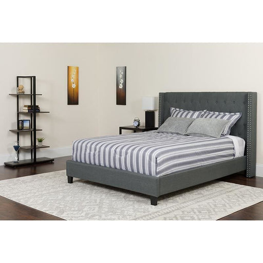 Riverdale Queen Size Tufted Upholstered Platform Bed In Dark Gray Fabric With Pocket Spring Mattress - Complete Bed Sets