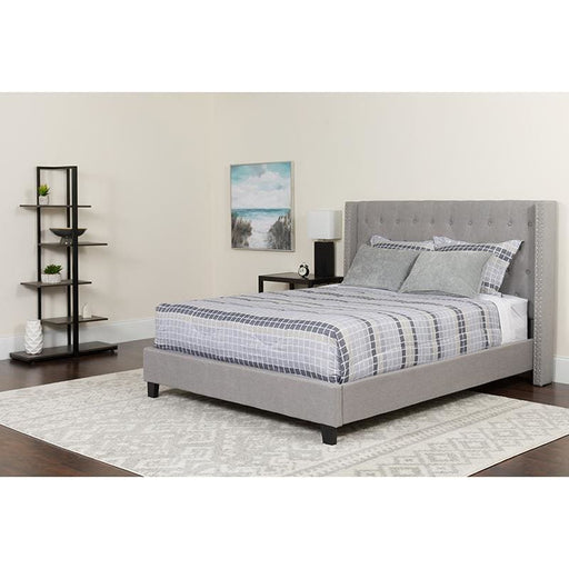 Riverdale Queen Size Tufted Upholstered Platform Bed In Light Gray Fabric With Pocket Spring Mattress - Complete Bed Sets