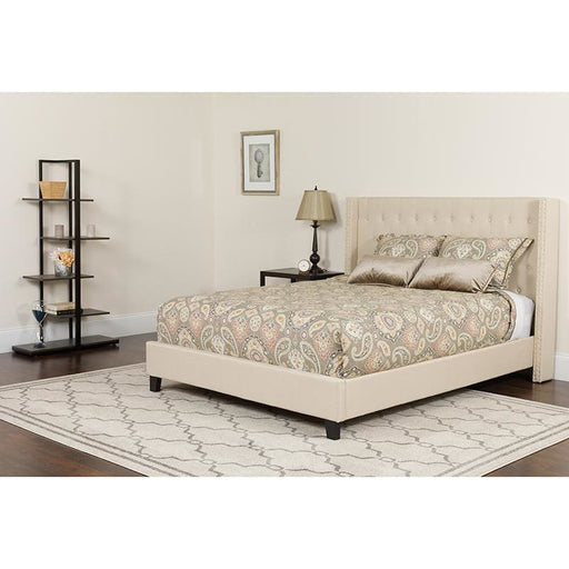 Riverdale Twin Size Tufted Upholstered Platform Bed In Beige Fabric With Pocket Spring Mattress - Complete Bed Sets