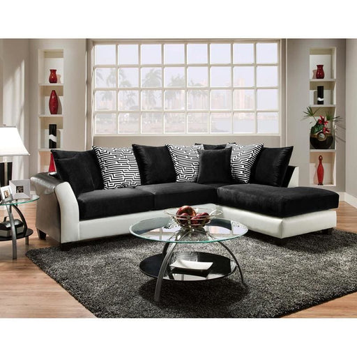 Riverstone Implosion Black Velvet Sectional - Living Room Sectionals