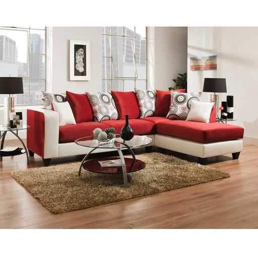 Riverstone Implosion Red Velvet Sectional - Living Room Sectionals