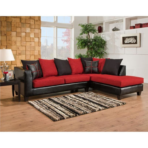 Riverstone Victory Lane Cardinal Microfiber Sectional - Living Room Sectionals
