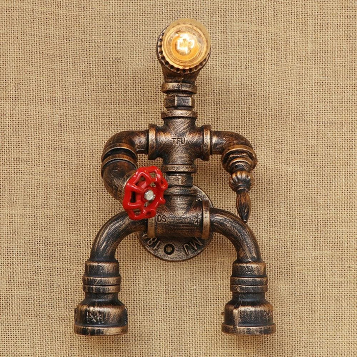 Robot Style Loft Industrial Iron Water Pipe Wall Sconce E27 - Lighting