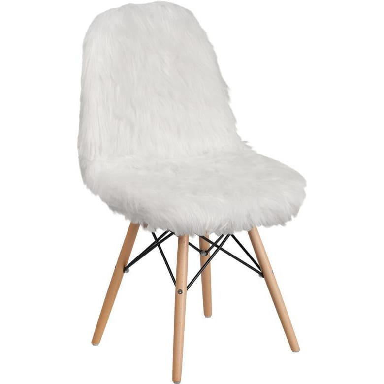Shaggy Dog White Accent Chair - Chiavari Chairs