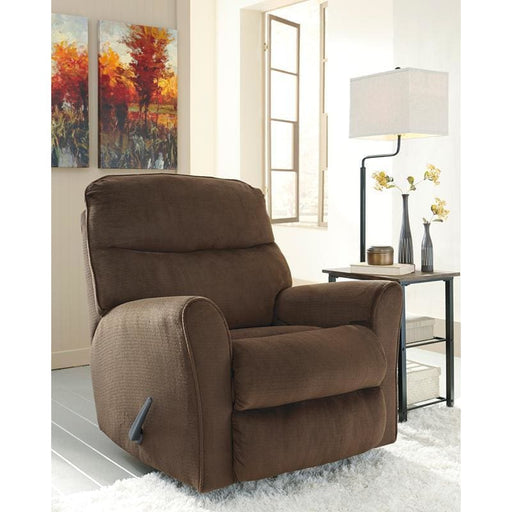 Signature Design By Ashley Cossette Rocker Recliner In Chocolate Fabric - Recliners