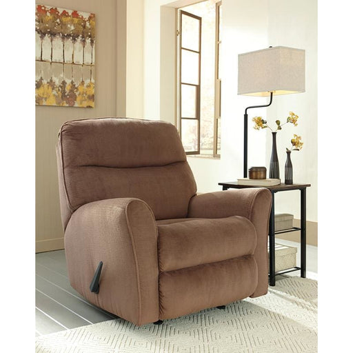 Signature Design By Ashley Cossette Rocker Recliner In Cocoa Fabric - Recliners