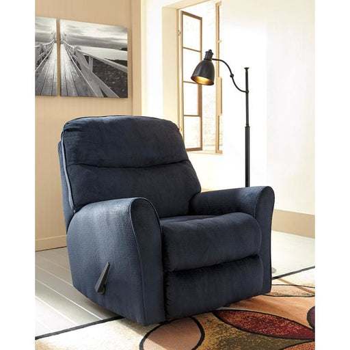 Signature Design By Ashley Cossette Rocker Recliner In Midnight Fabric - Recliners