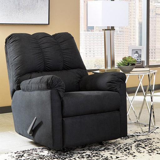 Signature Design By Ashley Darcy Rocker Recliner In Black Microfiber - Recliners