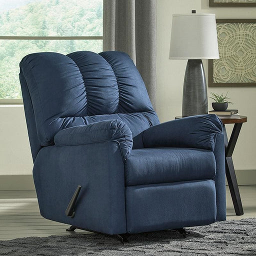 Signature Design By Ashley Darcy Rocker Recliner In Blue Microfiber - Recliners