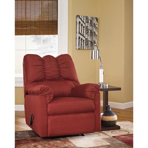 Signature Design By Ashley Darcy Rocker Recliner In Salsa Microfiber - Recliners