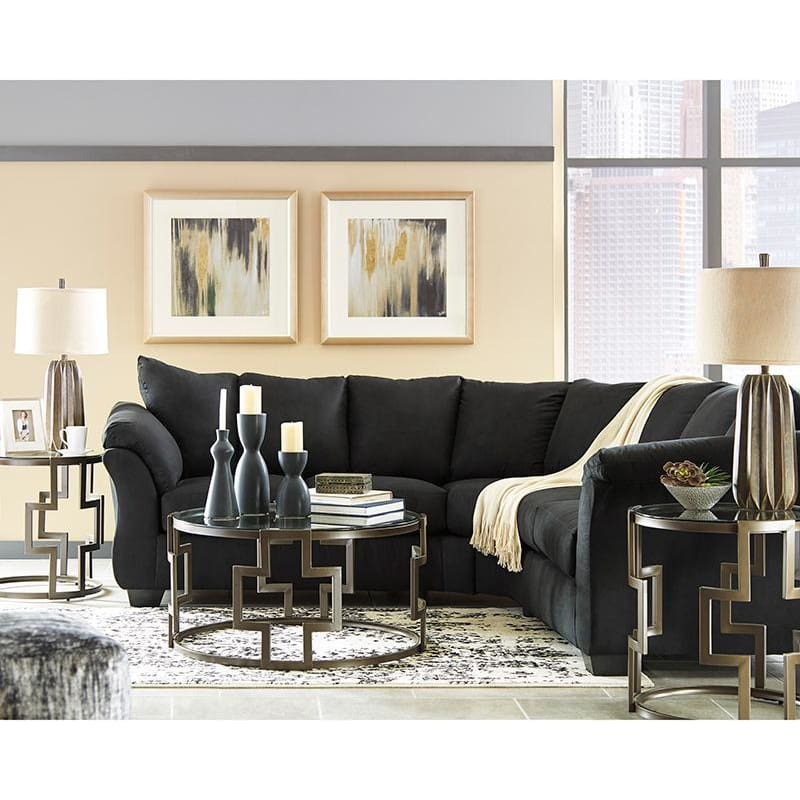 Signature Design By Ashley Darcy Sectional In Black Microfiber - Living Room Sectionals