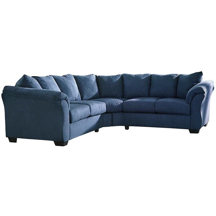 Signature Design By Ashley Darcy Sectional In Blue Microfiber - Living Room Sectionals