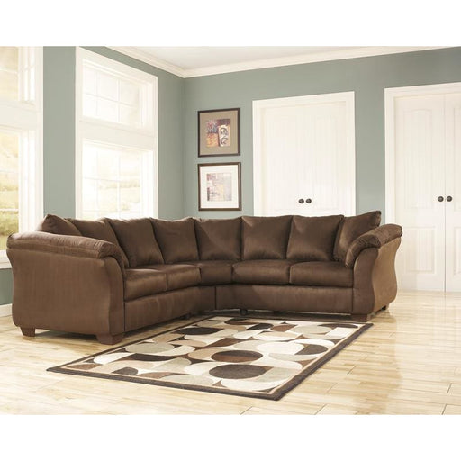 Signature Design By Ashley Darcy Sectional In Cafe Microfiber - Living Room Sectionals