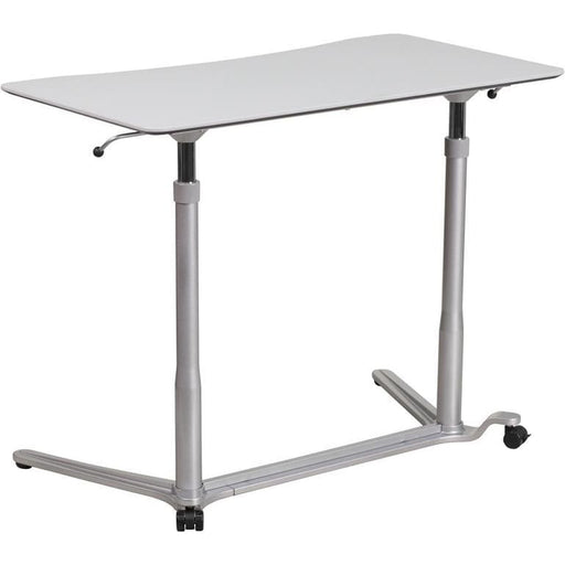 Sit-Down Stand-Up Light Gray Computer Desk With 37.375W Top (Adjustable Range 29 - 40.75) - Desks