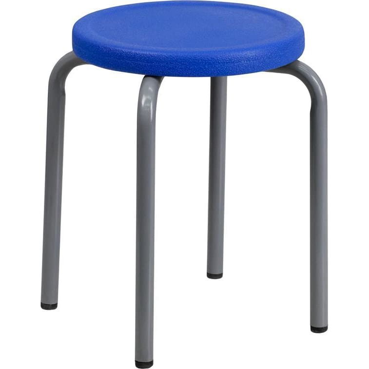 Stackable Stool With Blue Seat And Silver Powder Coated Frame - Office Chairs