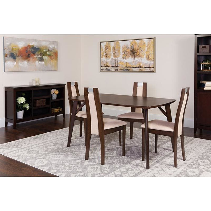 Stanton 5 Piece Espresso Wood Dining Table Set With Curved Slat Wood Dining Chairs - Padded Seats - Dinette Sets