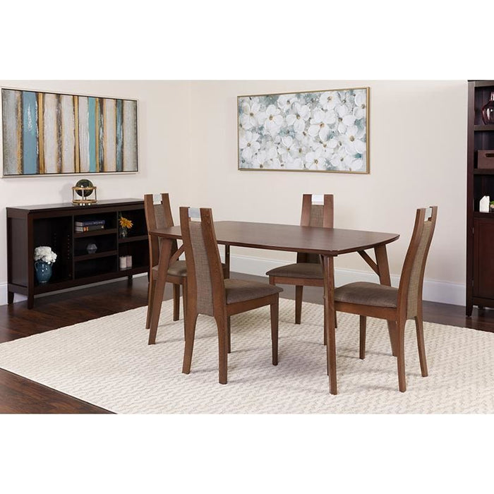 Stanton 5 Piece Walnut Wood Dining Table Set With Curved Slat Wood Dining Chairs - Padded Seats - Dinette Sets