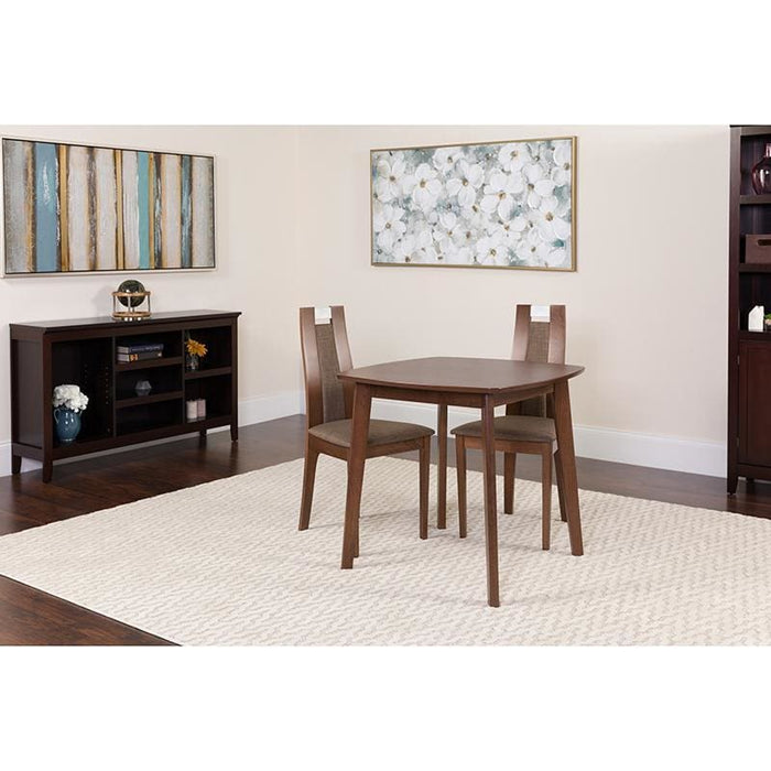 Stonington 3 Piece Walnut Wood Dining Table Set With Curved Slat Wood Dining Chairs - Padded Seats - Dinette Sets