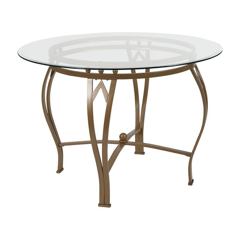 Syracuse 42 Round Glass Dining Table With Matte Gold Metal Frame - Dinette Tables