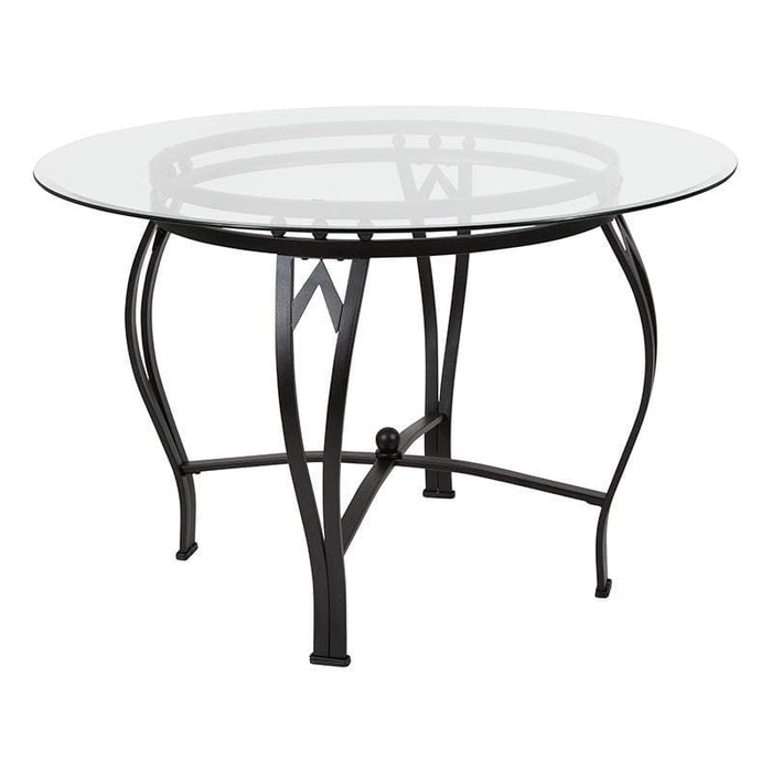 Syracuse 45 Round Glass Dining Table With Black Metal Frame - Dinette Tables