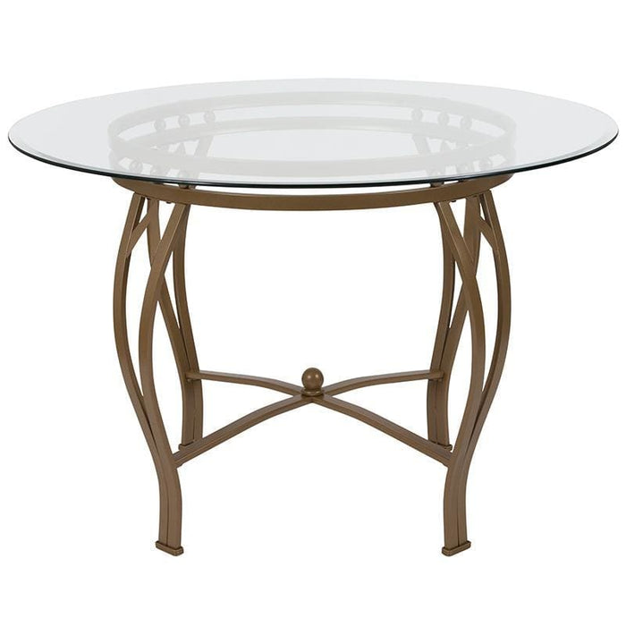 Syracuse 45 Round Glass Dining Table With Matte Gold Metal Frame - Dinette Tables
