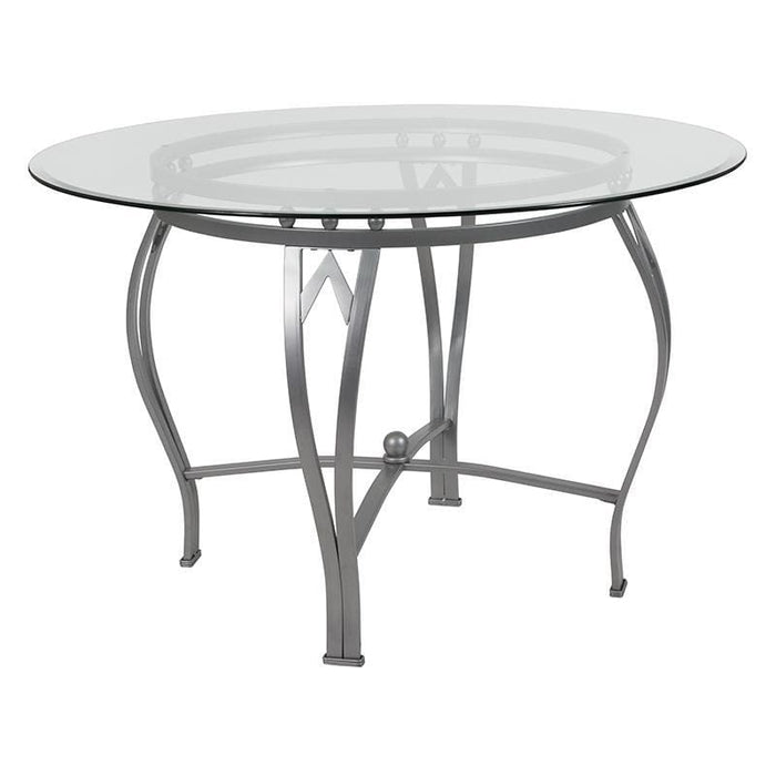 Syracuse 45 Round Glass Dining Table With Silver Metal Frame - Dinette Tables