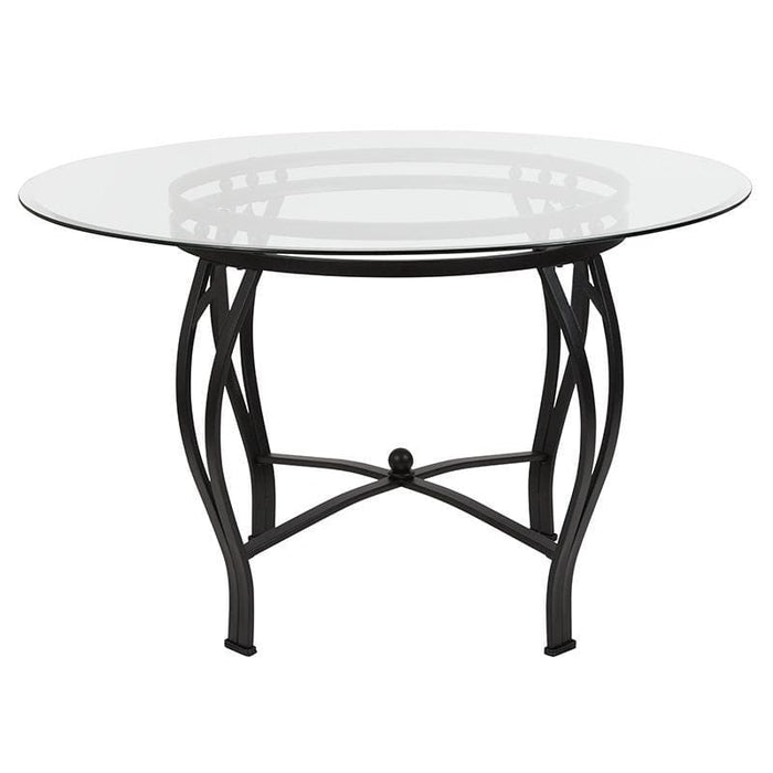 Syracuse 48 Round Glass Dining Table With Black Metal Frame - Dinette Tables