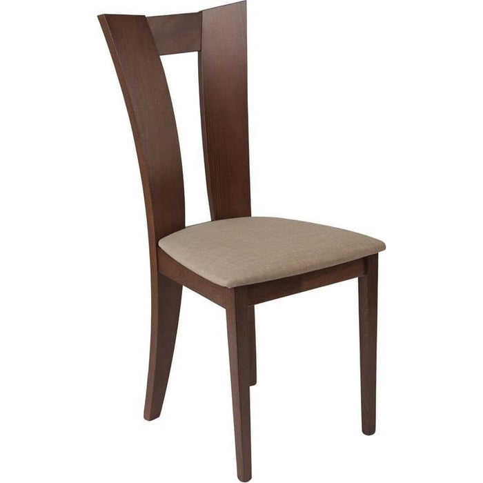 Talbot Walnut Finish Wood Dining Chair With Slotted Back And Magnolia Brown Fabric Seat - Dining Chairs