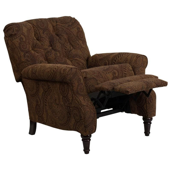 Traditional Tobacco Fabric Tufted Hi-Leg Recliner - Recliners