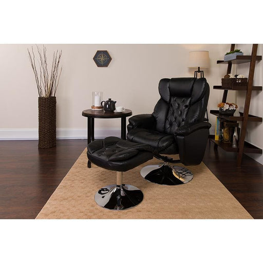 Transitional Black Leather Recliner And Ottoman With Chrome Base - Recliners