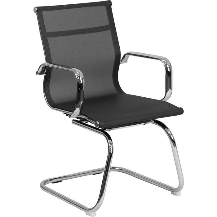 Transparent Black Mesh Side Reception Chair With Chrome Sled Base - Office Chairs