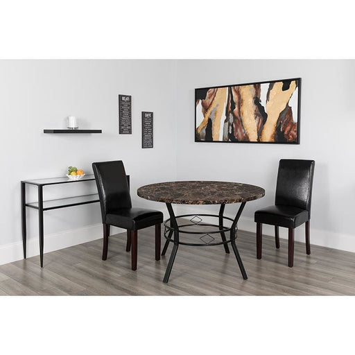 Tremont 47 Round Dining Table In Espresso Marble-Like Finish - Dinette Tables