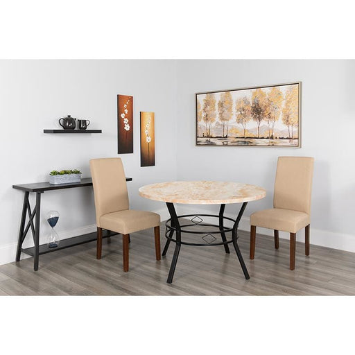 Tremont 47 Round Dining Table In Quartz Marble-Like Finish - Dinette Tables