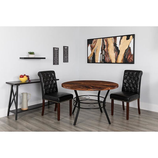 Tremont 47 Round Dining Table In Swirled Chocolate Marble-Like Finish - Dinette Tables