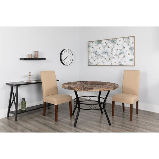 Tremont 47 Round Dining Table In Swirled Marble-Like Finish - Dinette Tables