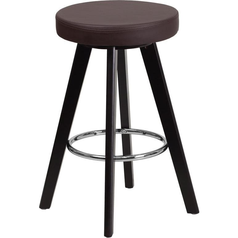 Trenton Series 24 High Contemporary Cappuccino Wood Counter Height Stool With Brown Vinyl Seat - Residential Barstools