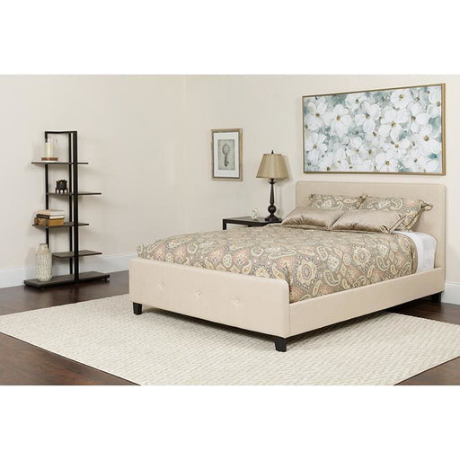 Tribeca Queen Size Tufted Upholstered Platform Bed In Beige Fabric With Pocket Spring Mattress - Complete Bed Sets