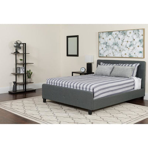 Tribeca Queen Size Tufted Upholstered Platform Bed In Dark Gray Fabric With Pocket Spring Mattress - Complete Bed Sets