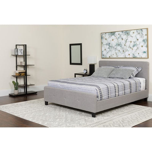 Tribeca Queen Size Tufted Upholstered Platform Bed In Light Gray Fabric With Pocket Spring Mattress - Complete Bed Sets
