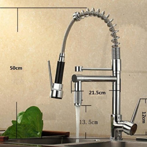 Uythner Chrome Brass Basin Kitchen Faucet Vessel Sink Mixer Tap Spring Dual Swivel Spouts Sink Mixer Bathroom Faucets - Decor