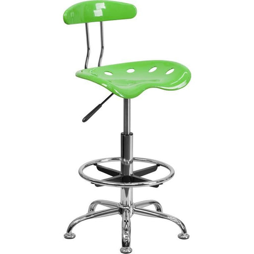 Vibrant Apple Green And Chrome Drafting Stool With Tractor Seat - Office Chairs