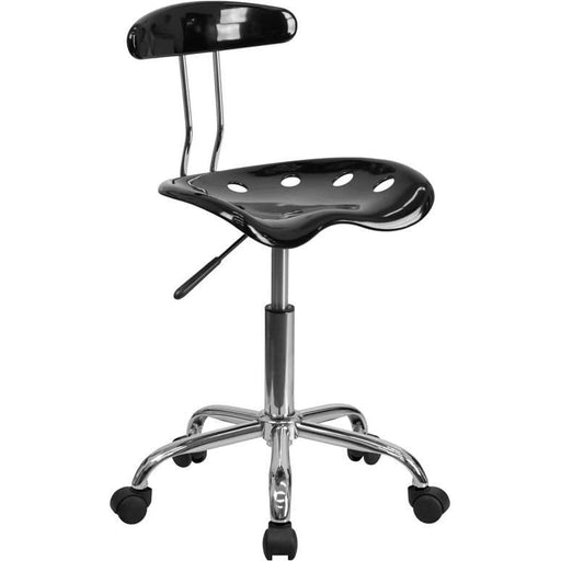 Vibrant Black And Chrome Swivel Task Chair With Tractor Seat - Office Chairs